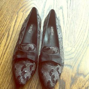 Grey and black snake print loafers